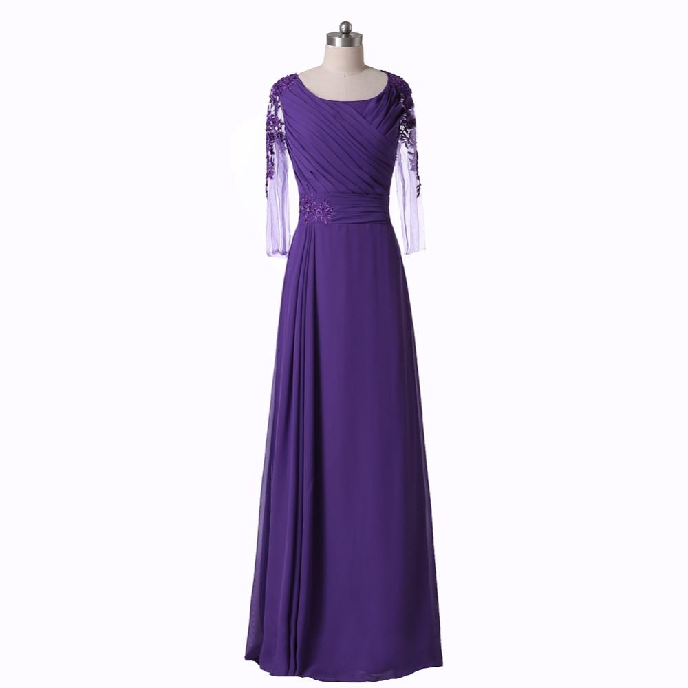New Style 3/4 Sleeve Lace Chiffon Long Purple Mother Of