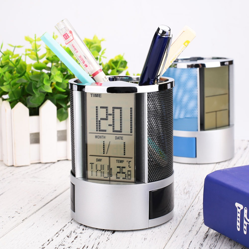 Cobee Multifunctional Office Digital LCD Desk Mesh Pen Pencil Holder Calendar With Clock Time Date Temp For Gift
