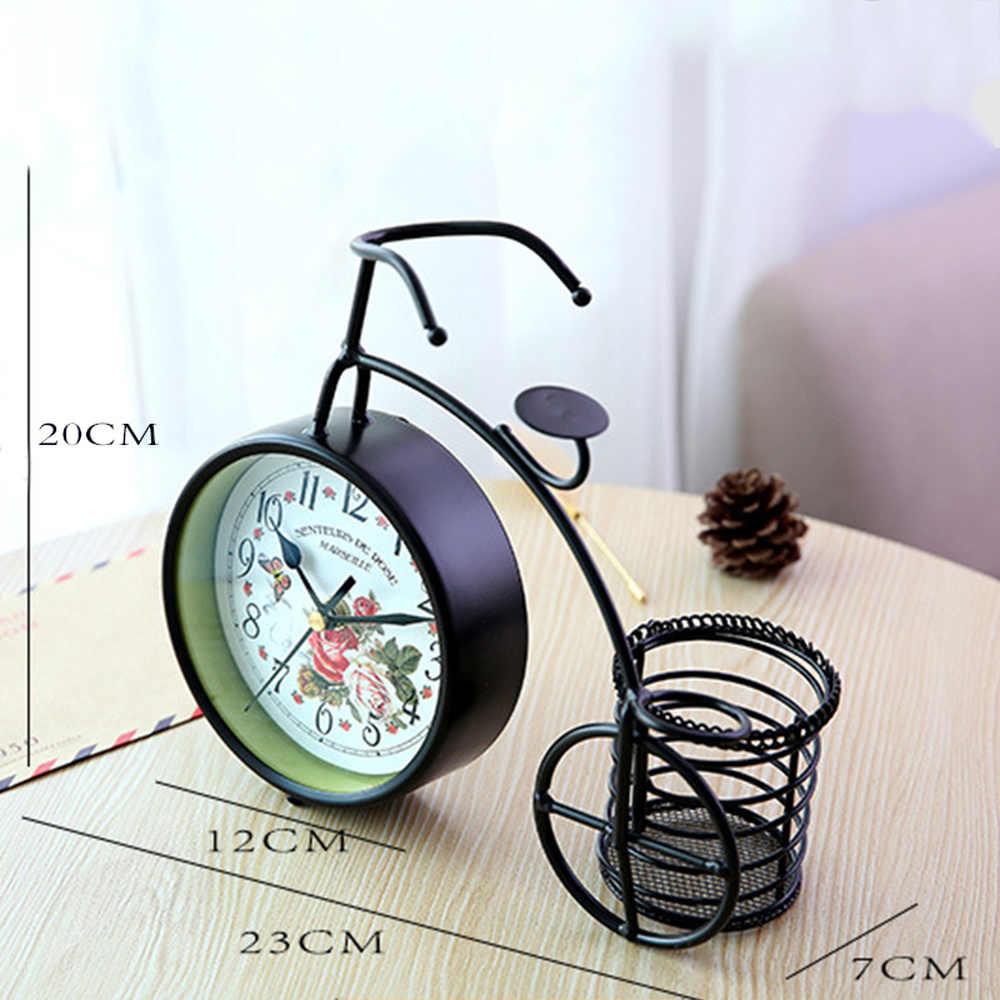 Bicicleta de ferro Relógio de Mesa Rural Tranquila Sala de Estar Em Casa Decorativos Relógios de Mesa de Mesa de Decoração Para Casa de Ferro Forjado 28*24*8 cm