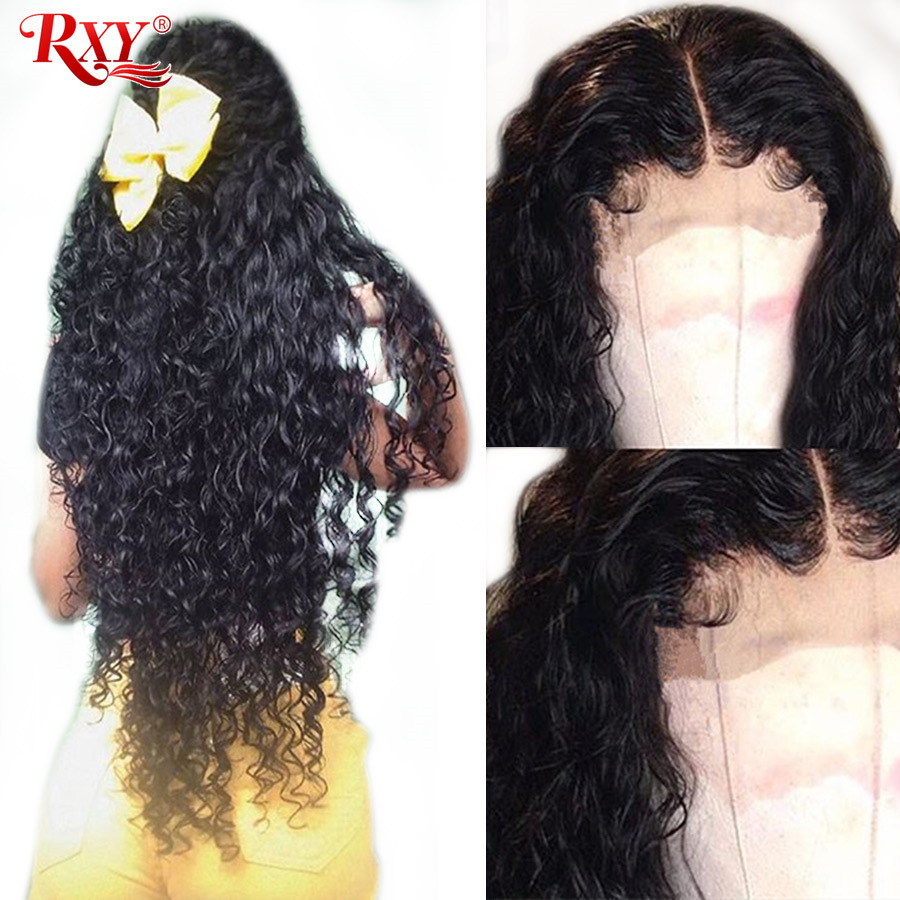 RXY Water Wave Wig 360 Lace Frontal Wig Pre Plucked With Baby Hair Brazilian Lace Front Human Hair Wig For Black Women Remy Hair-in Human Hair Lace Wigs from Hair Extensions & Wigs    1