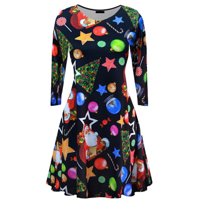 US $4 05 18% OFF Women Casual Christmas Tree Print Dress Cartoon Cute Loose  Autumn Winter Loose Dresses Plus Size Clothing 2017-in Dresses from