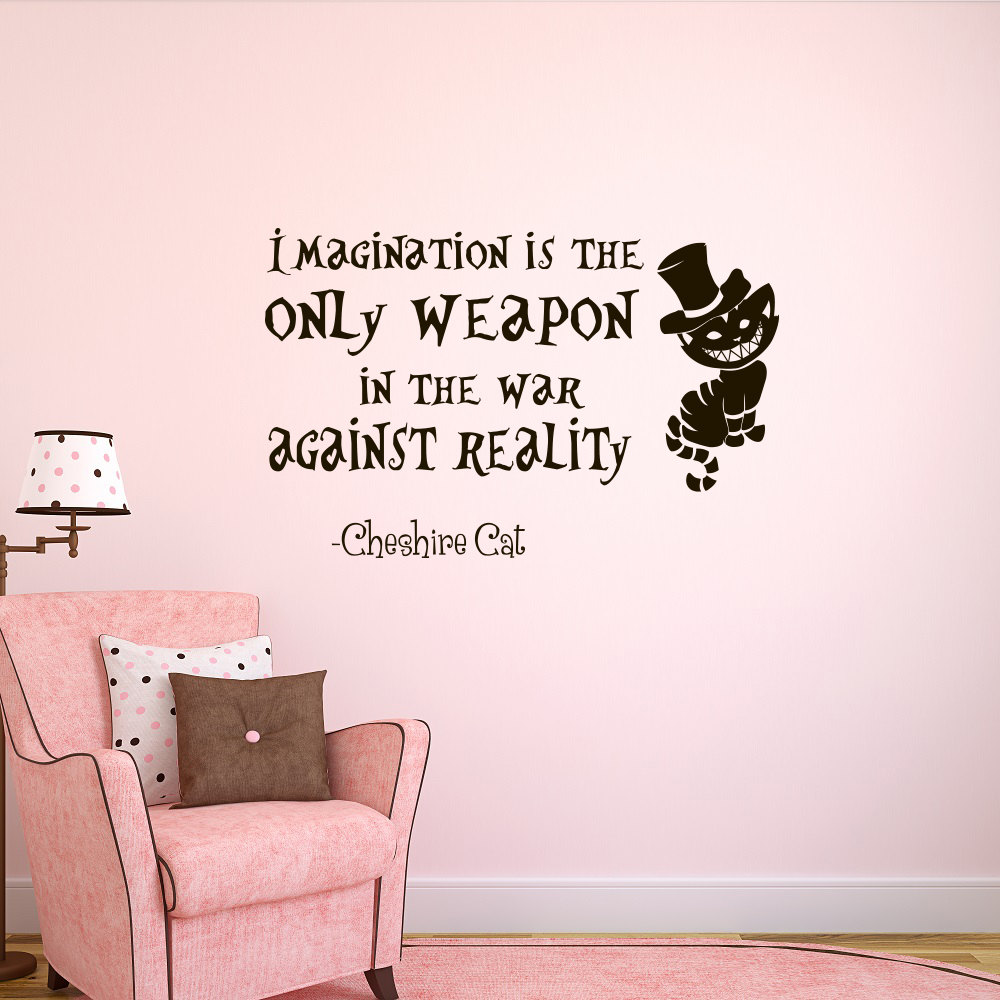 Aliexpress.com : Buy Wall Decal Alice In Wonderland Bedroom Decor Decals  Imagination Is The Only Weapon Quotes Special Quality Wall Sticker WY 81  From ...