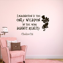 Wall Decal Alice In Wonderland Bedroom Decor Decals Imagination Is The Only Weapon Quotes Special Quality Sticker WY-81