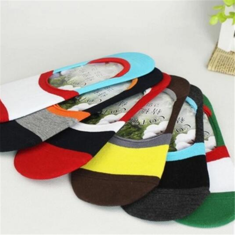5Pairs/Lot Men socks wholesale summer color wide strip leisure socks silicone anti slip silicone invisible socks Clearance