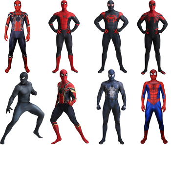 цена Adult Iron Spider Costume Spider Boy Far From Home Costume Venom Costume Cosplay Halloween Superhero Costume Men Suit Jumpsuit онлайн в 2017 году