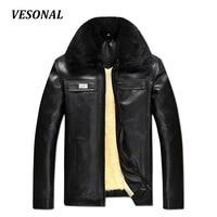 VESONAL Autumn Winter Faux Fur Collar PU Leather Jacket Men Thick Warm Velvet Mens Jackets Coat