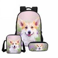 3 Pcs/set VEEVANV New School Bag Cute Welsh Corgi Pembroke 3D Printing Backpack Dogs Children Bookbag Shoulder Bag Girls Mochila
