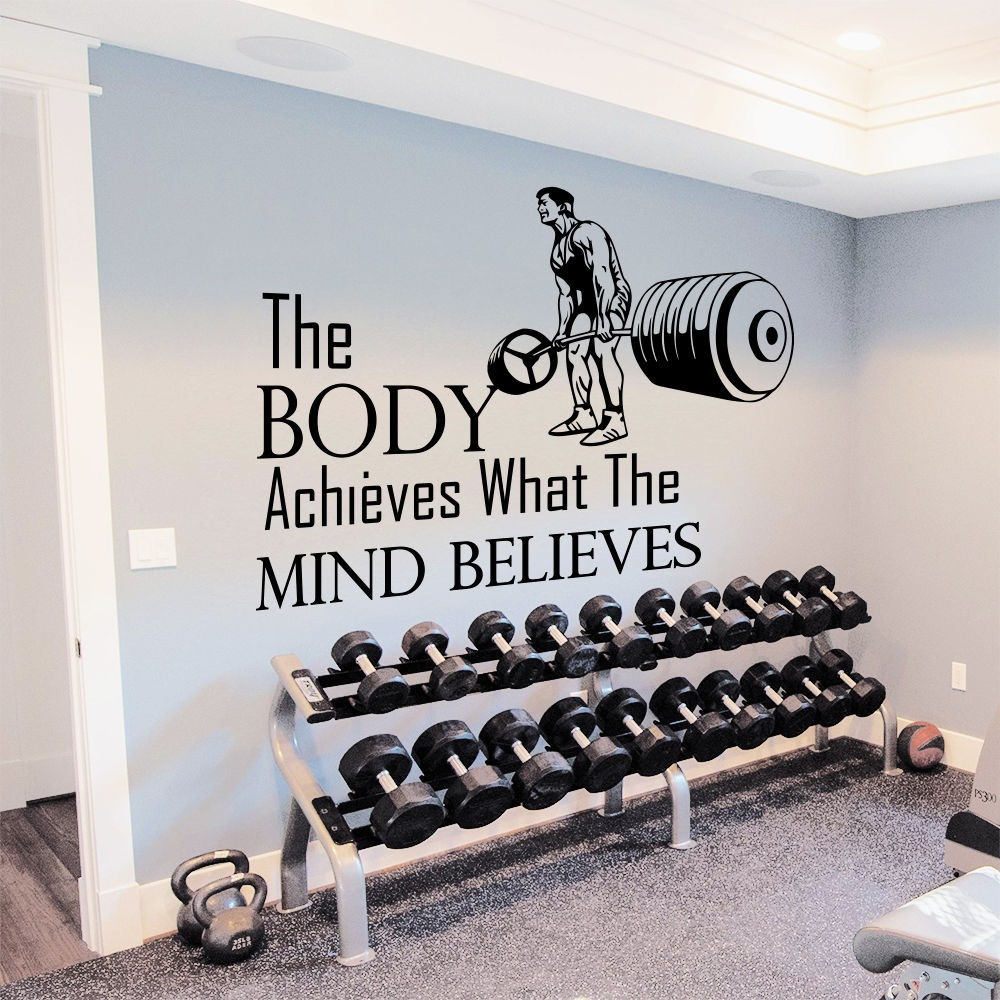 Sticker gym wall - Fashion Gym Wall Decal Quotes Sport The Body Achieves Mural Wall Sticker Sport Centre Bedroom Fitness