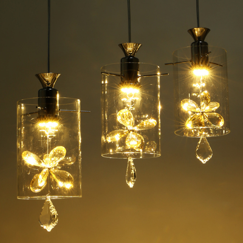 1/3heads lamps Butterfly Crystal LED pendant lights Creative Living Room Restaurant Loft Garden Balcony glass pendant lamps ZA bohemian crystal color pedant lights personalized restaurant study balcony channel home decoration lighting pendant lamps za