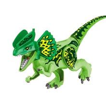 10PCS/LOT Green Dilophosaurus Tyrannosaurus Rex Dinosaur Jurassic World Park Bricks Model Building Blocks Toys For Children