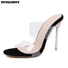 TINGHON PVC Jelly Sandals Open Toe High Heels Women Transparent Perspex Slippers Shoes Heel Clear Size 35-40
