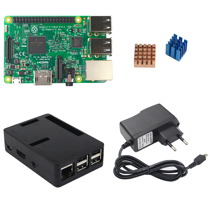 Raspberry Pi 3 Model B kit + ABS Case + 5V 2.5A Power Adapter Supply + Copper Aluminum Heat Sink for Raspberry Pi 3 RPI 3 rs uk raspberry pi 3 3 5 inch hdmi touchscreen display acrylic case 2 5a power adapter copper aluminum heat sink for rpi3
