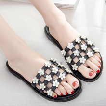цены Women Slippers Flip Flops New Fashion Summer Slides Women Shoes Floral Beach Slides Sandals Casual Slip On Ladies Shoes XL384