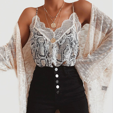 Female Lace Cami Tank Snakeskin Printed Women Seeveless Chiffon Tops Sexy Summer tops