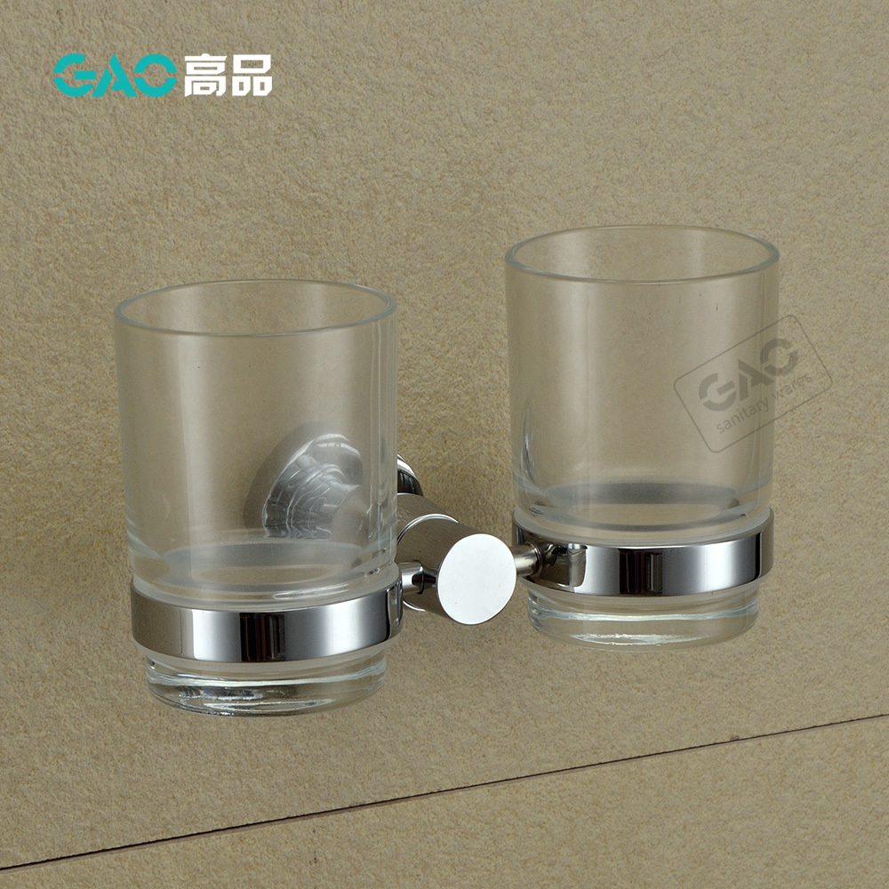 Free Shipping Double Tumbler Holders,Toothbrush Cup Holder, Solid Brass With Chrome Finish & Glass Cup,Bathroom Accessories free shipping single tumbler holder toothbrush cup holder gold finish glasss cup bathroom accessories gb001b