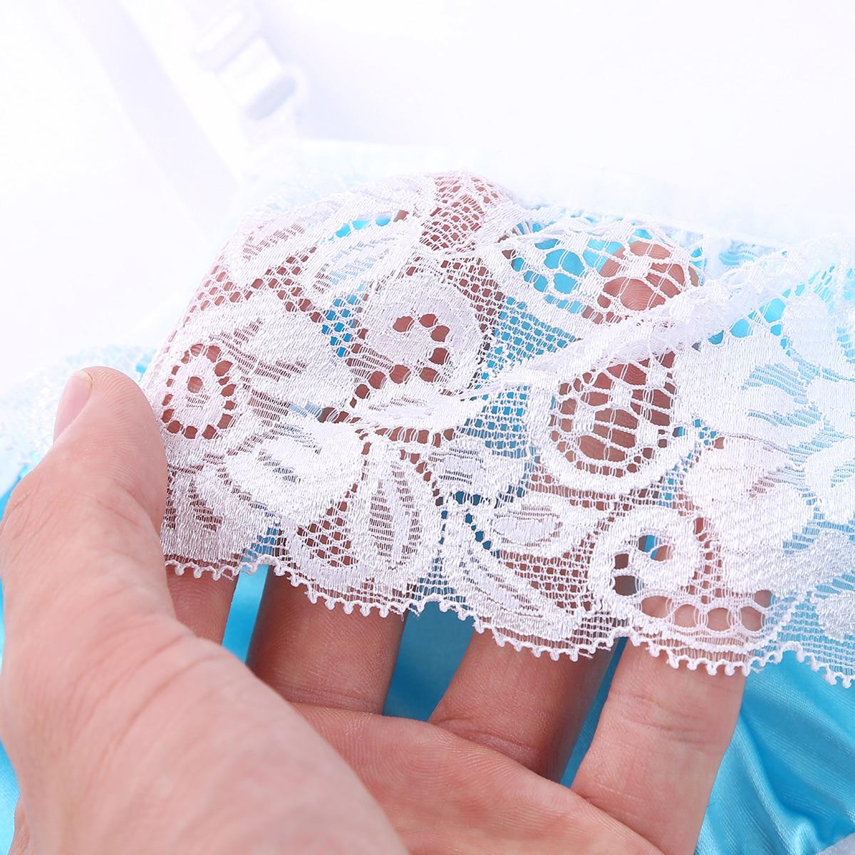 TiaoBug мужское гладкое атласное кружевное переодевание нижнее белье SISSY набор регулируемый бюстгальтер на бретельках Топ с мини-юбкой сексуа... 26
