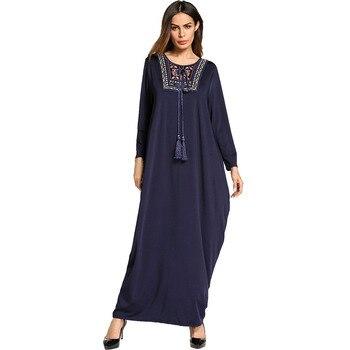 #185738 Musulman Fashion Euramerica Solid Plus Size Women's Dress Arabic Abaya Muslim Robes Vestidos Mujer