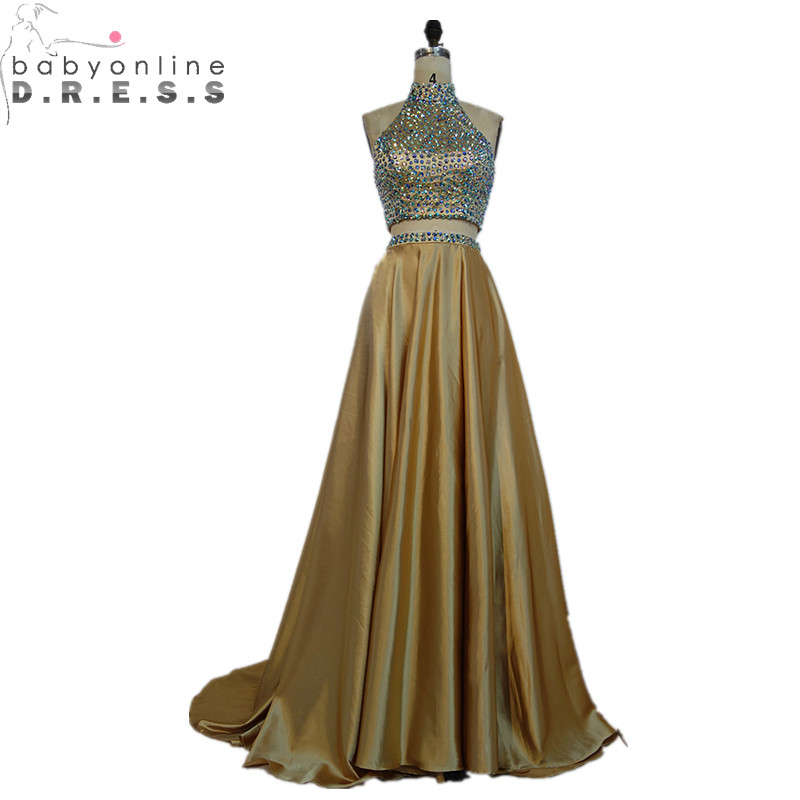 Babyonlinedress New Champagne Two Pieces   Prom     Dresses   Long Sexy Open Back Beaded Crystals   Prom   Gown with Train