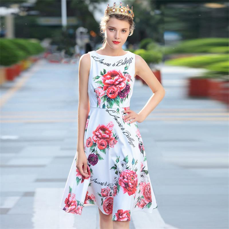 Nice Women Summer Dress 2018 High Quality Designer Runway O-neck Sleeveless Printed Casual Knee-length Casual Dresses Np0011n 2019 Latest Style Online Sale 50% Women's Clothing