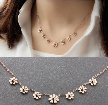 Luxurious Jewelry Fashion 18K Rose Gold Plated Daisy Flower  Pendant Chain for women  316L stainless steel jewelry 8451