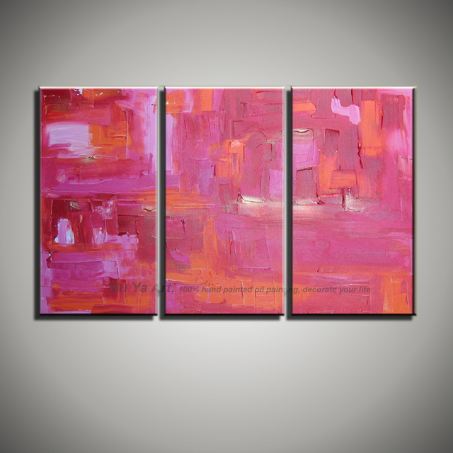 Abstract modern 3 piece canvas wall art Knife paint pink oil hand ...