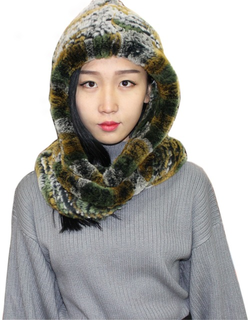 Autumn and winter rex rabbit skin scarf hat dual-use scarf cap snow cap female