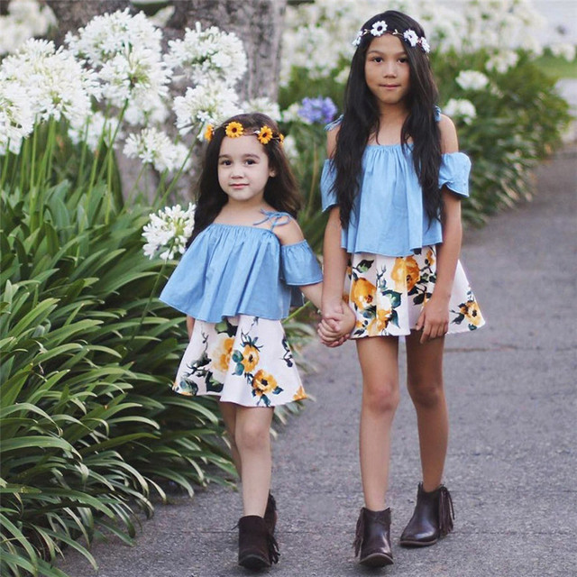 07b974ffc5 2018 Summer Cute Fashion Toddler Baby Girls Strap Strapless Off Shoulder  Tops Floral Skirt Outfits Clothes Set Dropshipping 823