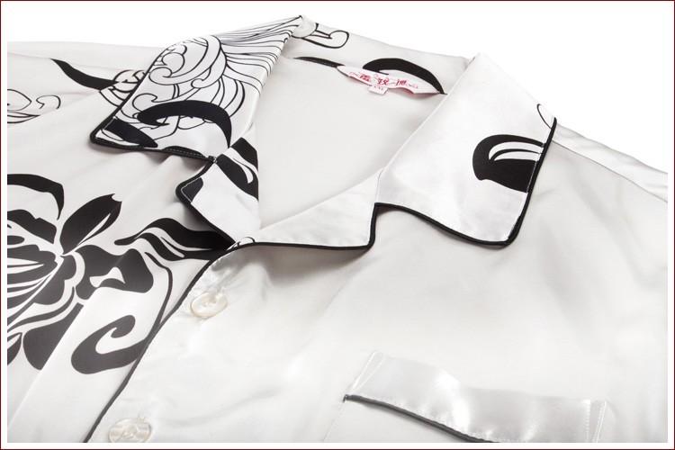 high quality satin men pajamas, silk sleepwear for men and women