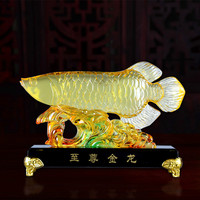 Lucky Gold Dragon Fish Glass Crafts Ornaments Chinese Creative Company Shop Opening Gift Display Home Decoration Accessories