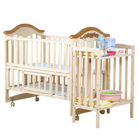 Solid wood lengthened baby crib multifunction pine child bed no paint Eco friendly newborn playpen game bed variable desk