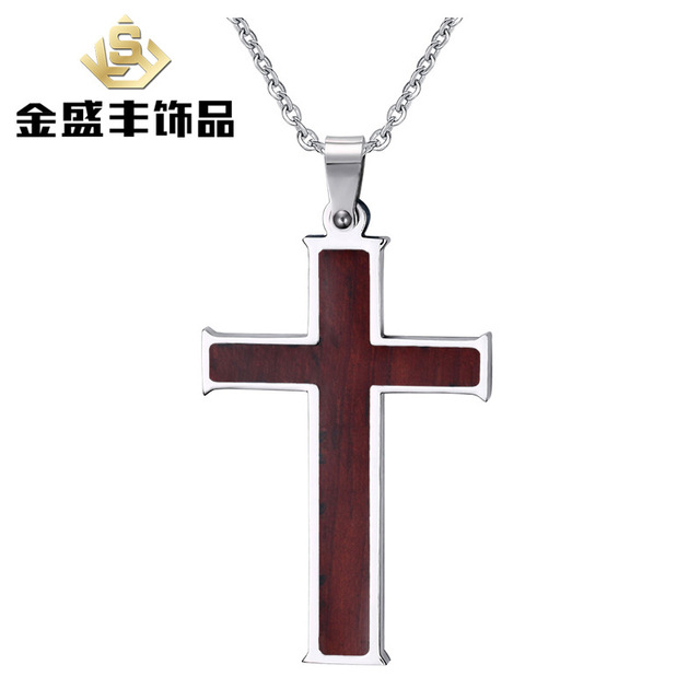 Couples 316l stainless steel cross pendant inlay wood grain couples 316l stainless steel cross pendant inlay wood grain necklace with chain accessories jewelry wholesale pn aloadofball Choice Image