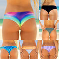 Sexy Women's Colorful Print Thong Bottom Brazilian V Cheeky Ruched Beach Wear Polyester Underwear Hot Girls Lingerie Panties 21