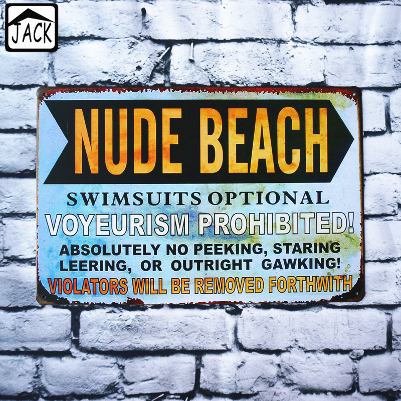 Nude Beach Vintage Tin Signs Bar Pub Home Wall Gallery Lounge Garage Hall Decor Metal -8858
