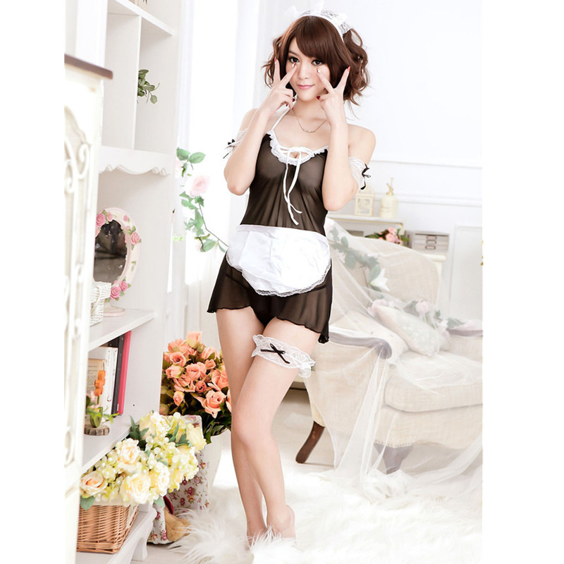 Sexy lingerie Women Costume Lovely Female Maid Classical Lace Sexy Miniskirt lolita maid Sexy Costume Sex Products For Women
