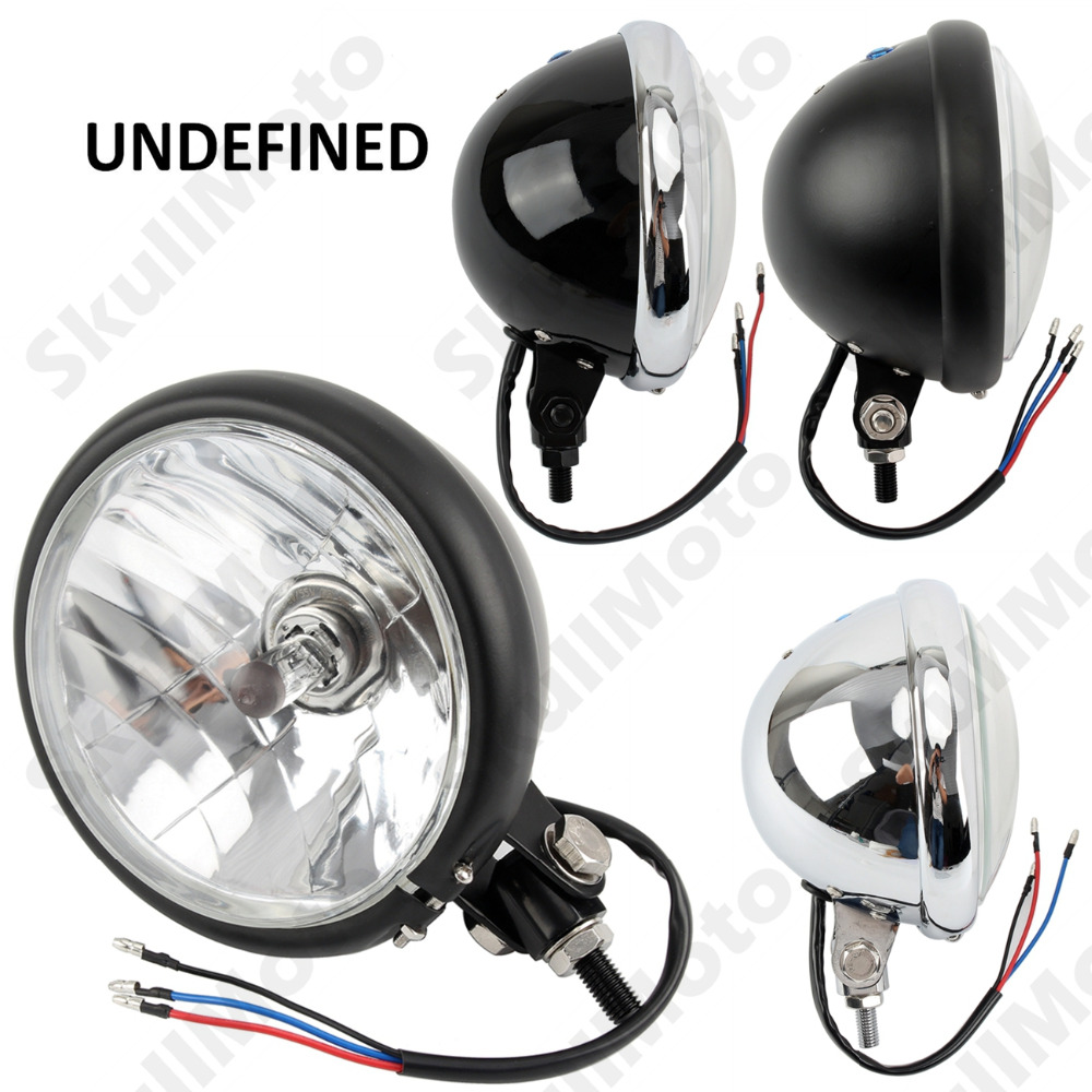 Motorcycle Black LED High Low Beam HeadLight Lamp For Harley Old School Touring