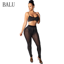 BALU 2 Piece Set Spaghetti Strap Mesh Rompers Womens Jumpsuit Sexy Rhinestone See Trough Sleeveless Backless Overalls