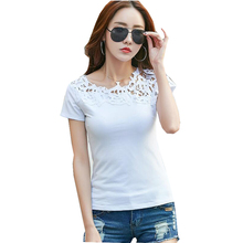 High Quality Summer Women T shirts Black White Pink Women Lace 100% Cotton Patchwork Casual Tops Short Sleeve Tee Shirt Femme
