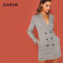 64aeed1899 SHEIN Grey Elegant Office Lady Shawl Collar Double Breasted Plaid Long  Sleeve Coat 2018 Autumn Workwear Women Coats Outerwear