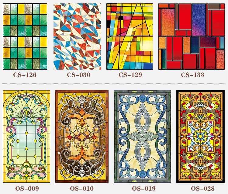 30 nuovi stili Personalizzati elettrostatica glassato stained glass window film, chiesa domestica foglio di adesivi, PVC adesivo finestra film