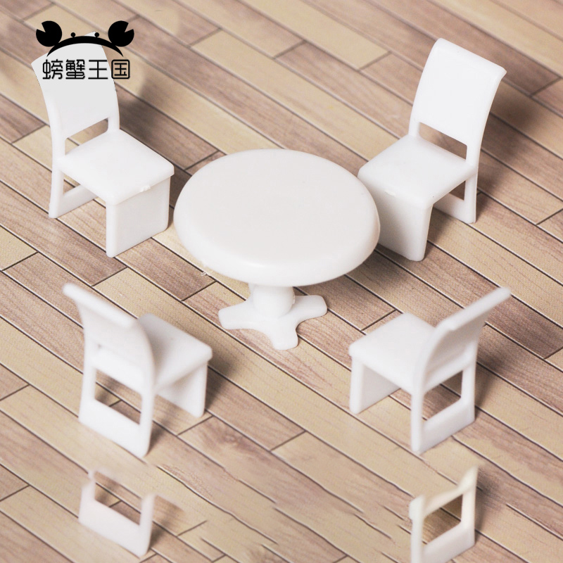 20 sets <font><b>1/50</b></font> 1/75 1/100 scale Inner Landscape Scenery Model Set Round Dining Table w/ 4 Chair Miniature <font><b>Furniture</b></font> Decoration image