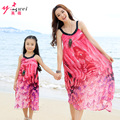 2016 Family Fashion Summer Dress for Mother and Daughter Beach Bohemia Chiffon Mother Daughter Dresses