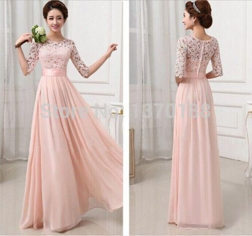 Brand new 2014 Womens floral Lace Dress Half Sleeve Formal party Long Prom  Gown Bodycon Dresses GL