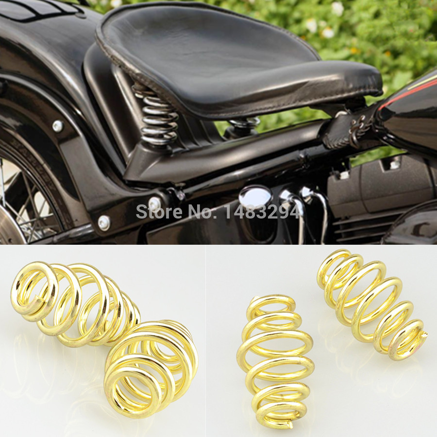 1Pair 3 Inch Golden Motorcycle Cushion Springs Solo Seat Springs t Fits For Harley Chopper Bobber