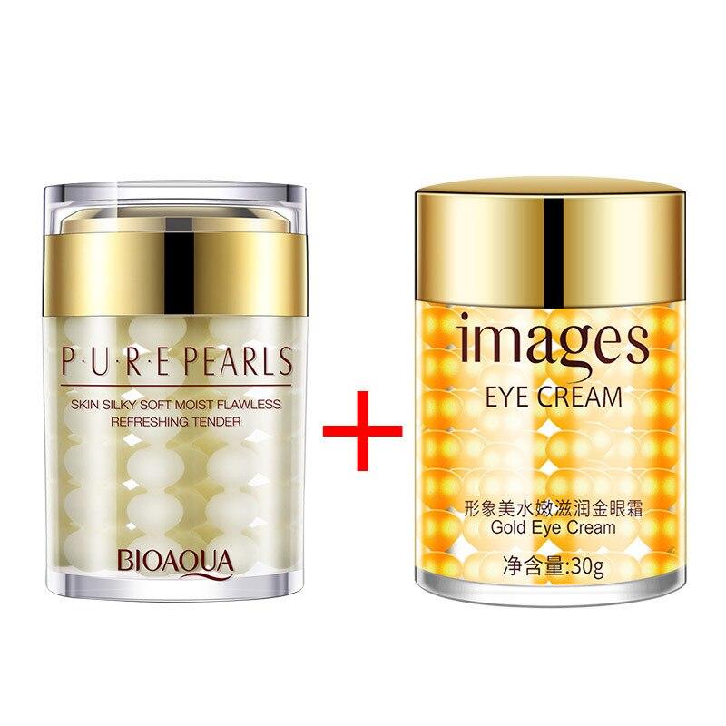 Bioaqua Pearls Face Cream Whitening Moisturizing Anti Wrinkle + Images Gold Eye Cream Dark Circles Remover Eye Bag Skin Care