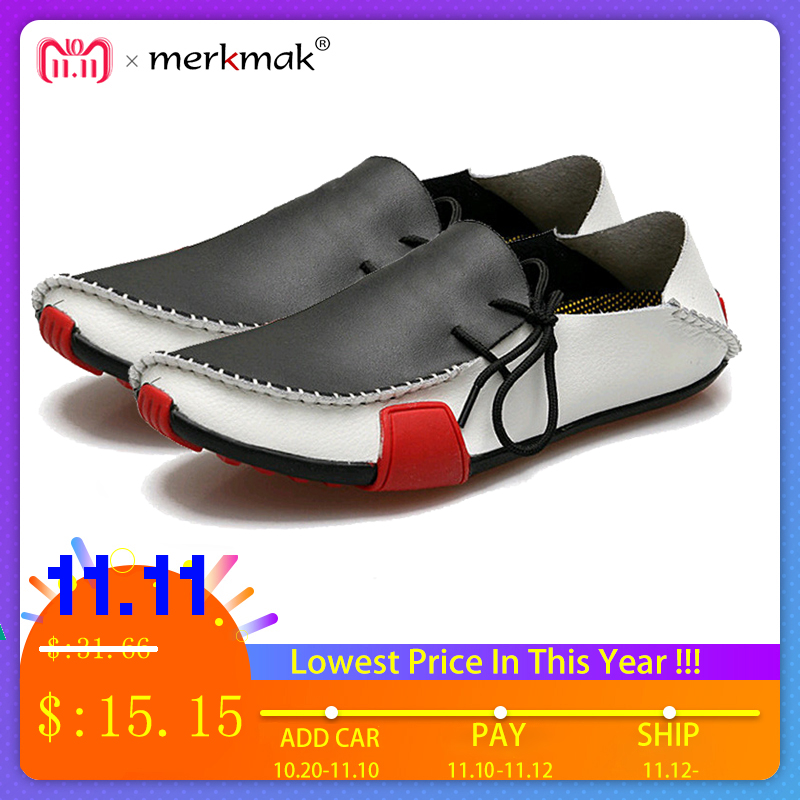 Merkmak Casual Genuine Leather Men Shoes Fashion Comfortable Slip On Men Flats Loafers Moccasins Famous Brand Big Size 39-47 цена 2017