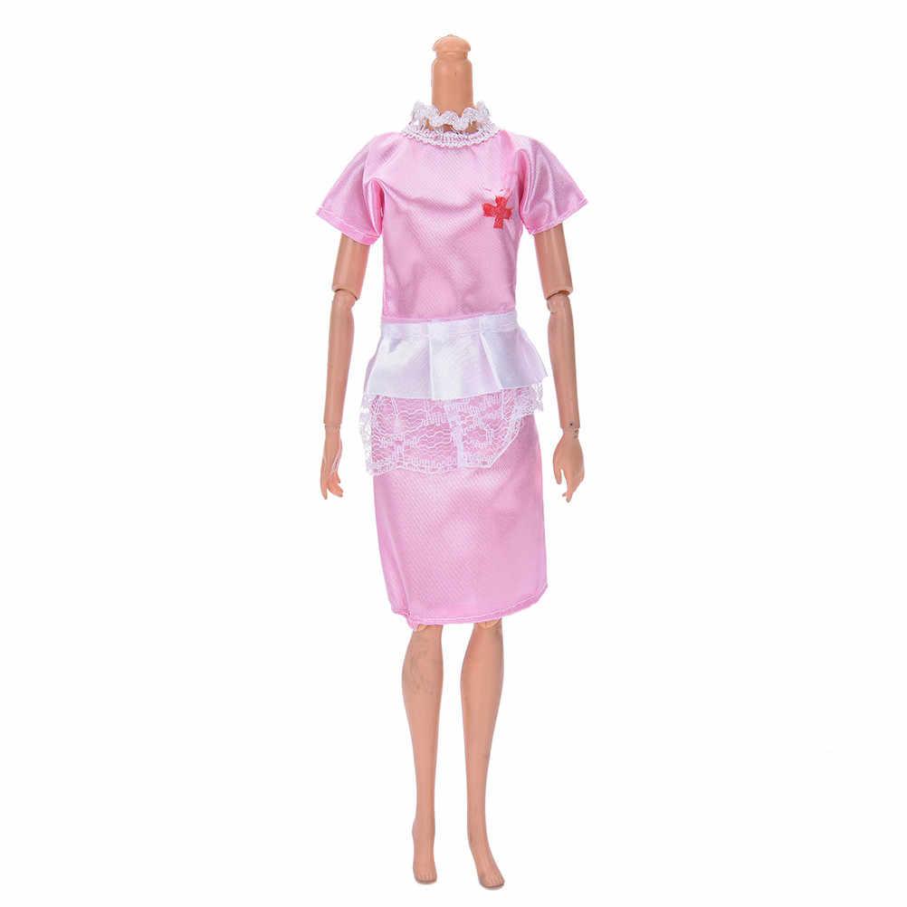 1 مجموعة ملابس عصرية موحدة + قبعة الوردي الأبيض الملاك الإناث ممرضة اللباس حتى اللعب ل ألعاب الدمى دمى
