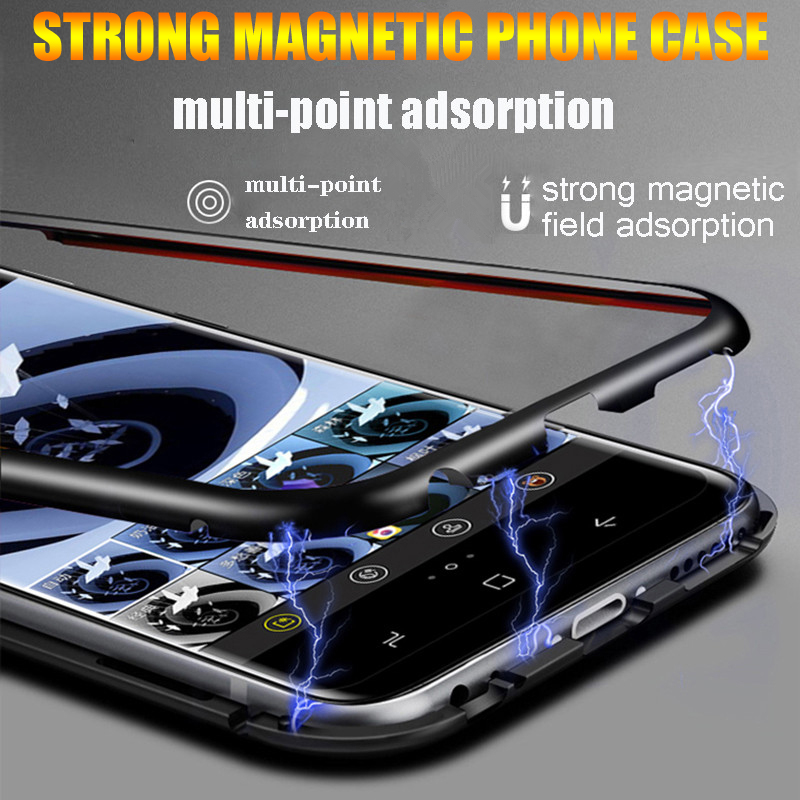 Metal Magnetic Adsorption Case For Samsung Galaxy S10E S8 S9 S10 A8 J6 Plus S7 Edge A7 A9 2018 Note 8 9 A30 A40 A50 Magnet Cover