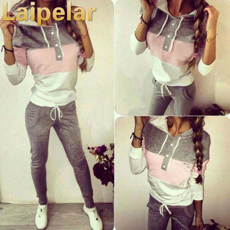 Laipelar Women Two Piece Clothing Set Autumn Tracksuit Patchwork Hoodie Sweatshirt Long Pant Jogger Outfit Set Female Sweat Suit in Women 39 s Sets from Women 39 s Clothing