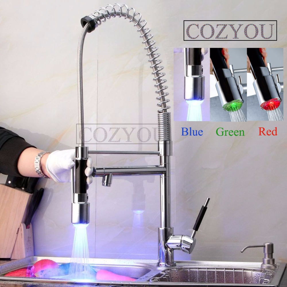 LED 3 colors sprayer spring pull out kitchen mixer faucet, brass, chrome, two water outlet, hot and cold water sink tap