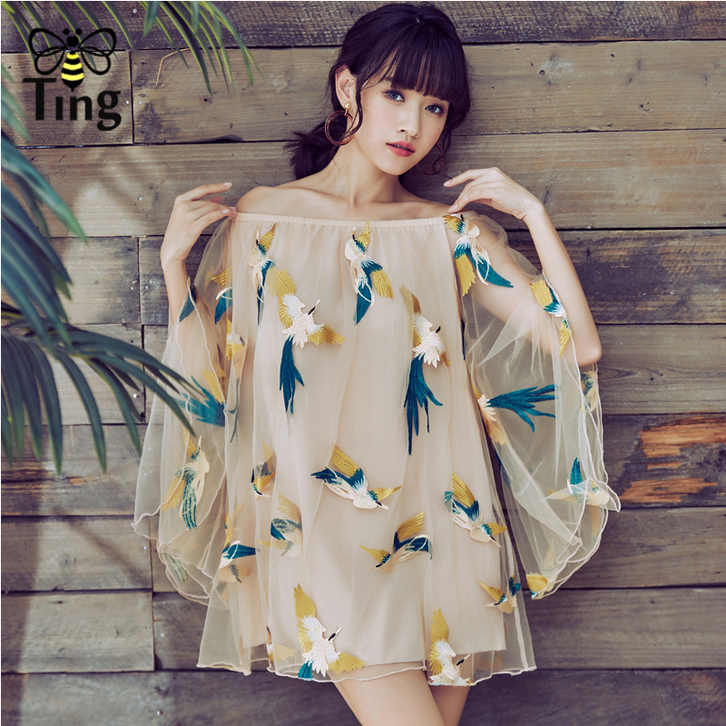 Tingfly Fashion Runway off shoulder Women Flower Embroidery Blouses Vintage Shirt Women Tulle Bating Sleeve Tops Blusas